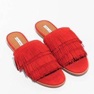 & Other Stories Orange Fringe Slide Sandals Size 8
